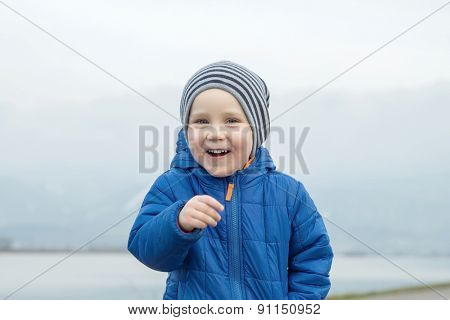 Portrait of happiness child outdoor.
