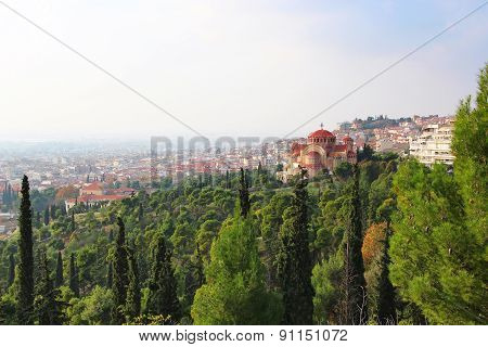 Church Of St. Pavlo And Thessaloniki View, Greece