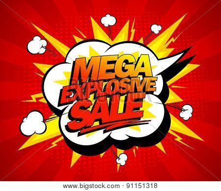 Mega explosive sale design, comics style, rasterized version.
