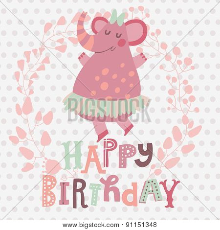 Lovely happy birthday card with awesome dancing elephant in stylish floral wreath in vector. Sweet childish background in pastel pink colors