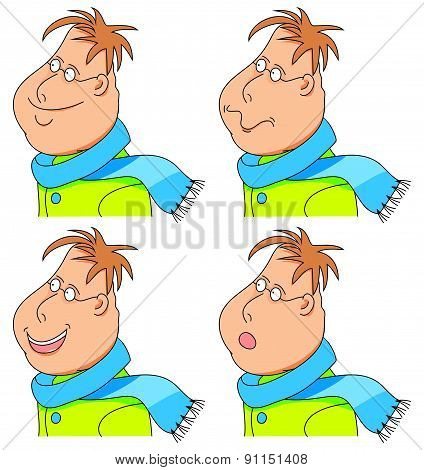 Vector Cartoon Man With A Scarf And Coat. Emotions. Set