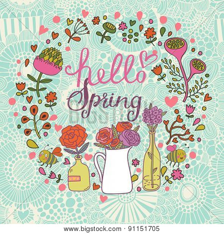 Lovely Hello spring card in vector. Sweet background with a lot of beautiful flowers in popular modern colors
