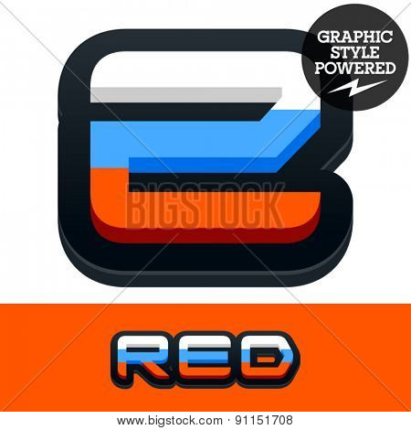 Vector set of Russian flag alphabet. File contains graphic styles available in Illustrator. Number 2