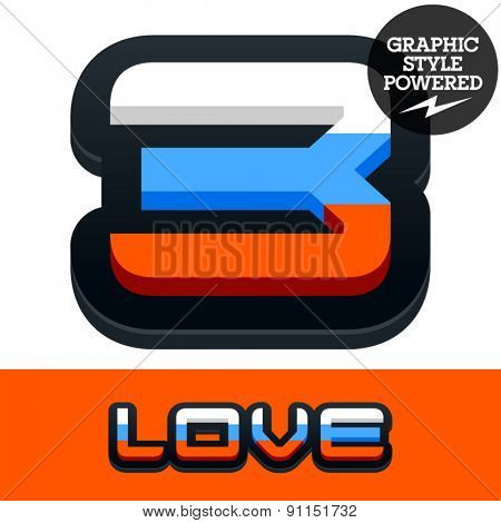Vector set of Russian flag alphabet. File contains graphic styles available in Illustrator. Number 3