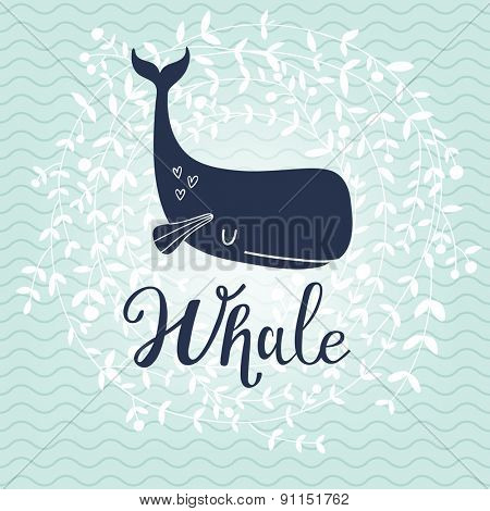 Stunning whale card. Lovely whale on stylish blue colored background with floral wreath in vector. Lovely childish card in stylish colors