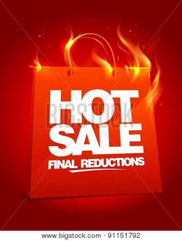 Fiery hot sale design with shopping bag, rasterized version.