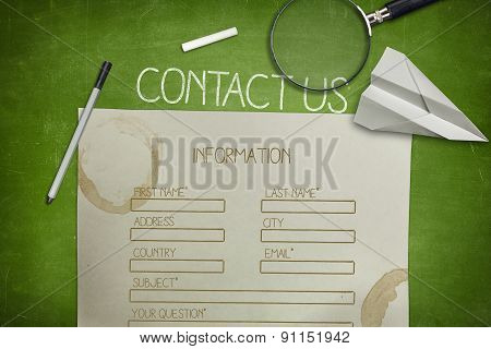 Contact us and blank application concept on green blackboard with coffee cup