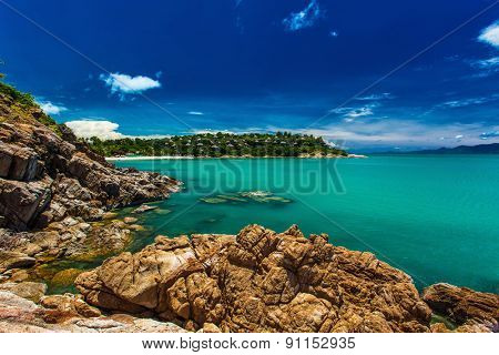 Rocks and cliffs over the ocean on the north side of Koh Samui island, Thailand