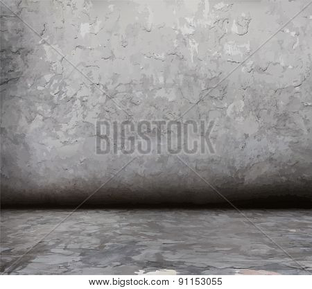 old grunge room, vector