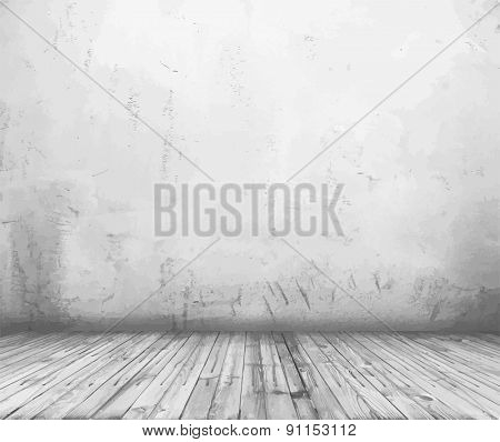 old grunge interior, grey vintage background, vector