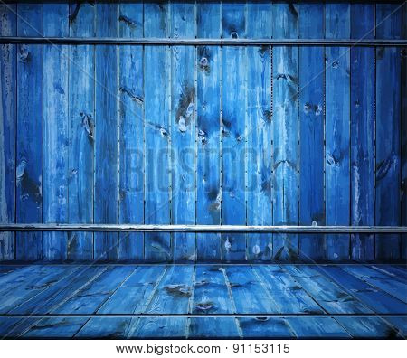painted old wooden wall. blue room, vector