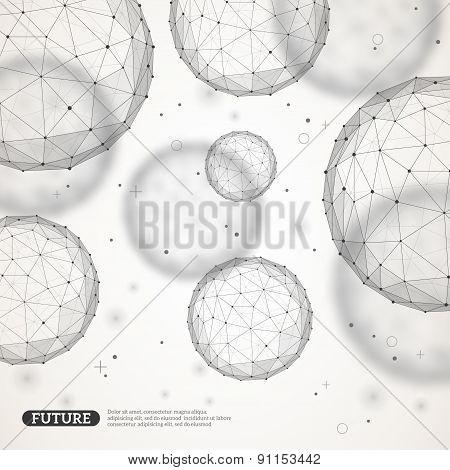 Wireframe mesh polygonal spheres.