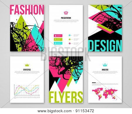 Set of business card templates with paint stain and triangles