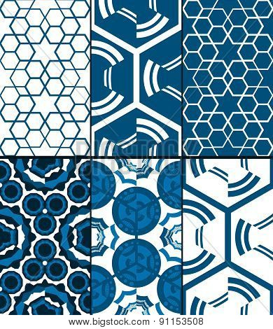 Set of 6 blue seamless patterns