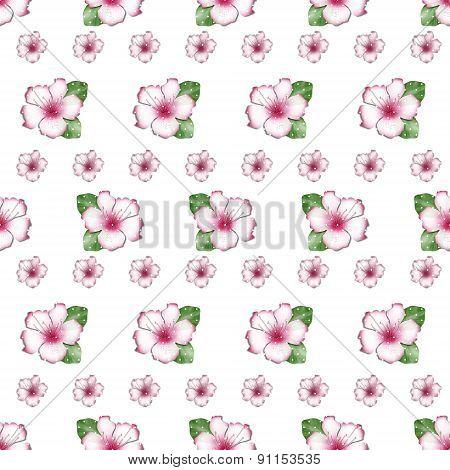 Cute Flowers Of Azalea Seamless Pattern Background
