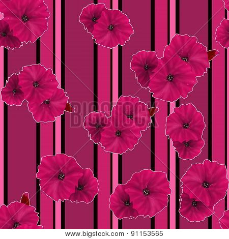 Seamless Pink Poppy Flowers Pattern Background