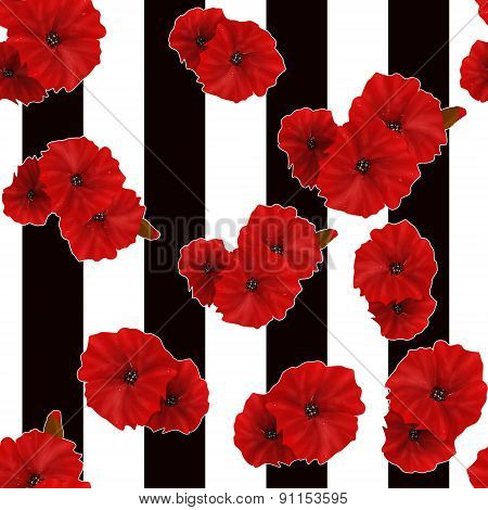 Seamless Red Poppy Flowers Pattern Striped Background