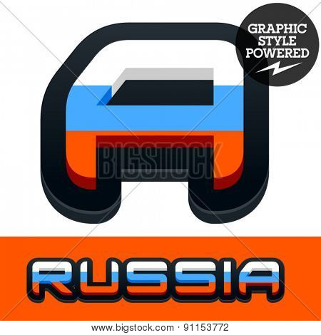Vector set of Russian flag alphabet. File contains graphic styles available in Illustrator. Letter A