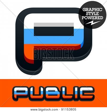 Vector set of Russian flag alphabet. File contains graphic styles available in Illustrator. Letter P
