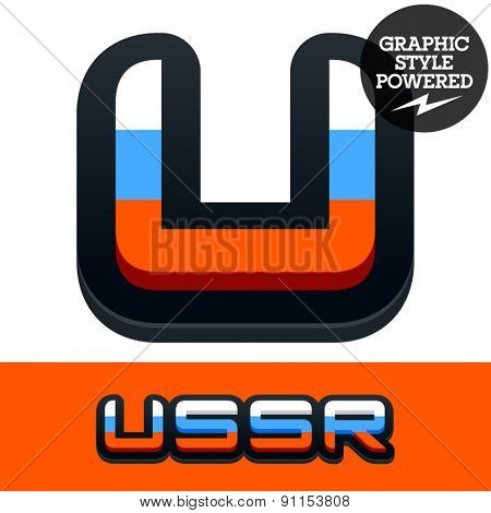 Vector set of Russian flag alphabet. File contains graphic styles available in Illustrator. Letter U