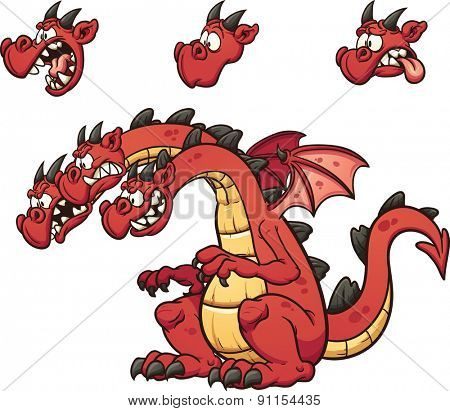 Three headed cartoon dragon. Vector clip art illustration with simple gradients. Each element on  a separate layer