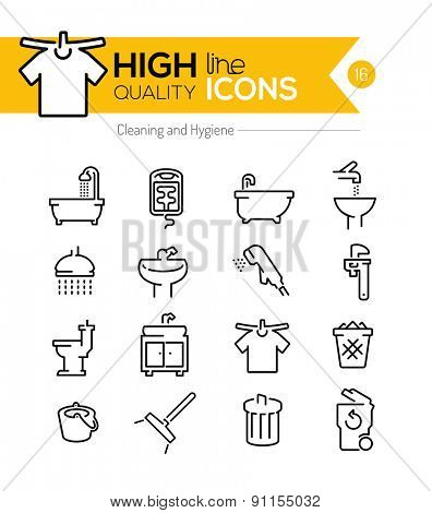 High Quality Cleaning and Hygiene line icons