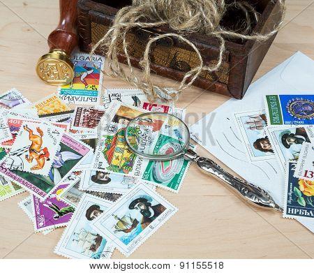 Old Magnifier, Stamp, Postage Stamps
