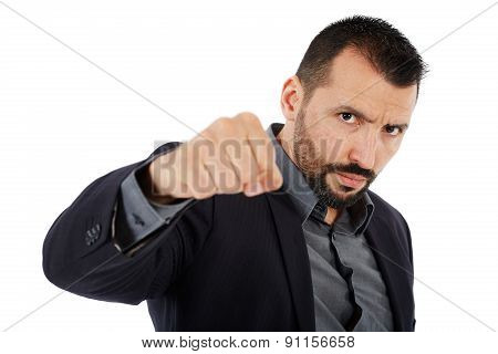 Angry Businessman Threatening Wit His Fist