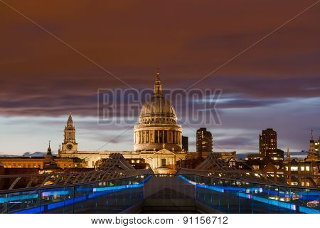 Red Sky Over St. Paul's Cathedral