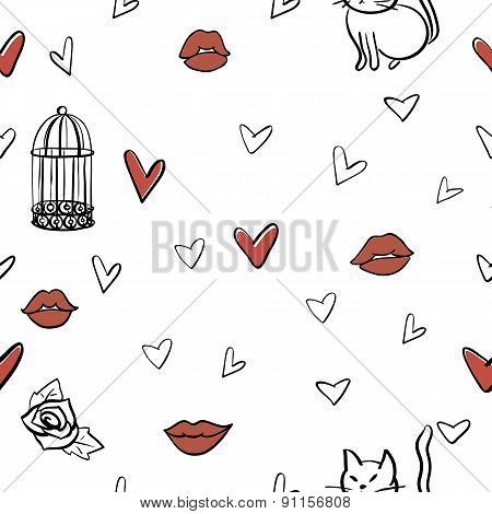 seamless romantic vector elements pattern
