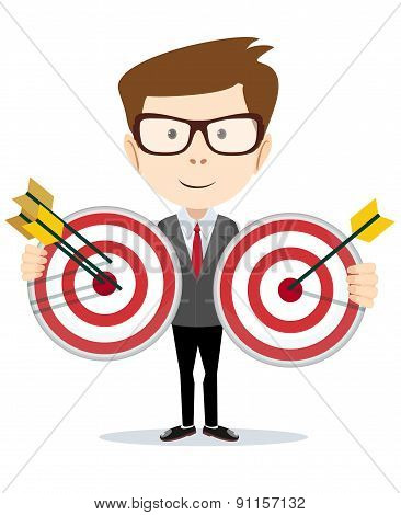 Man holding a target with arrow