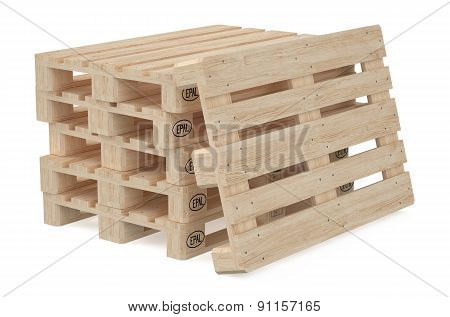 Heap Of Wooden Eur Pallets