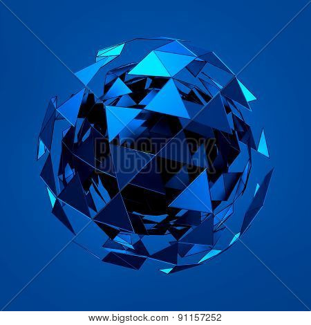 Abstract 3d rendering of low poly blue sphere with chaotic structure.