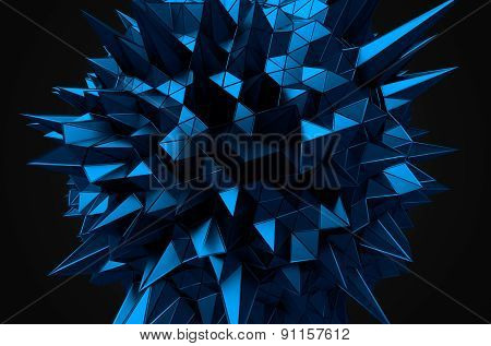 Abstract 3d rendering of blue sphere with chaotic structure.