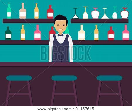 Young barman standing in bar with alcoholic beverages. Vector illustration