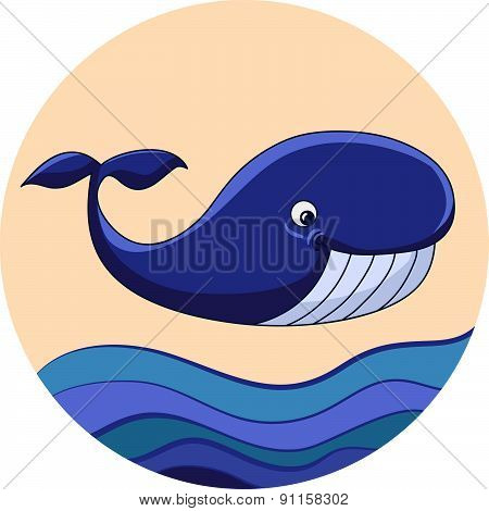 Cartoon whale with waves