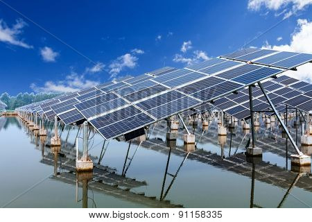 solar panels and blue sky