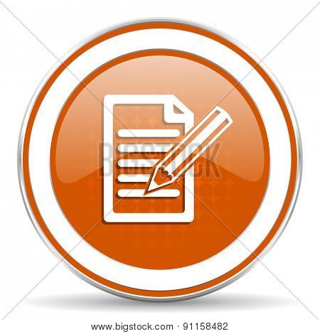 subscribe orange icon write sign