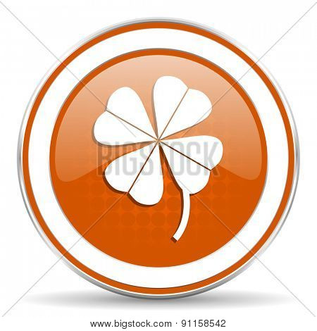 four-leaf clover orange icon