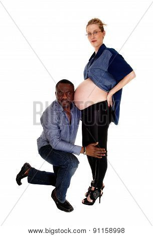 Black Man With Pregnant Caucasian Wife.