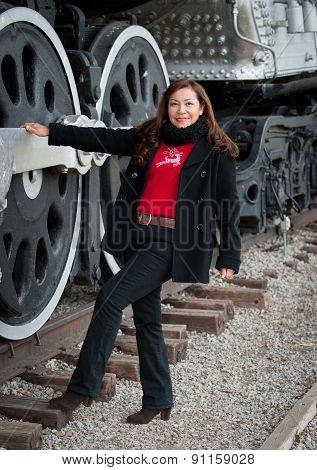 Portrait beautiful asian woman on old Train