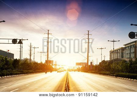 sunbeam on the urban road