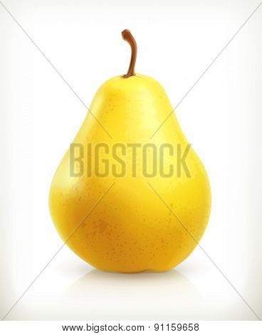 Pear, summer fruit, vector icon