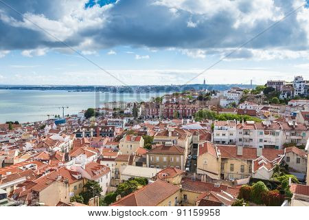 Lisbon Rooftop From Sao Vicente De Fora Church Viewpoint  In Portugal
