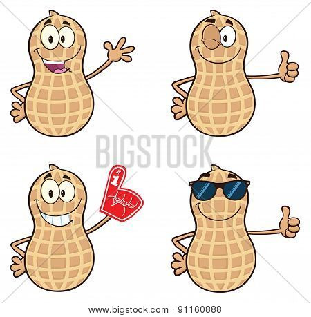 Peanut Cartoon Mascot Character. Collection Set