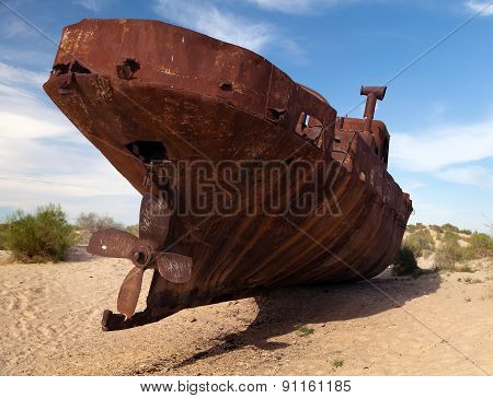Boats In Desert Around Moynaq - Aral Sea