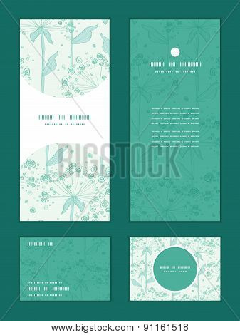 Vector summer line art dandelions vertical frame pattern invitation greeting, RSVP and thank you car