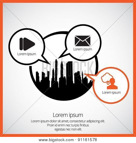 Vector of city skyline and communication speech bubbles