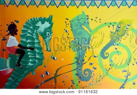 Street art sea horse carousel