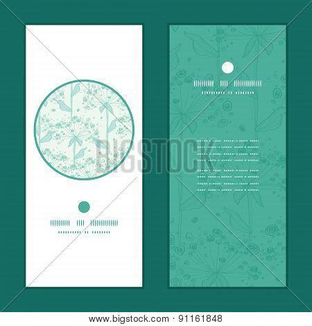 Vector summer line art dandelions vertical round frame pattern invitation greeting cards set